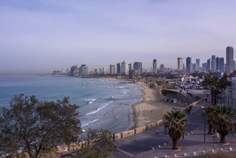 Tel Aviv beach and city Skyline in the morning mist Israel stock photography