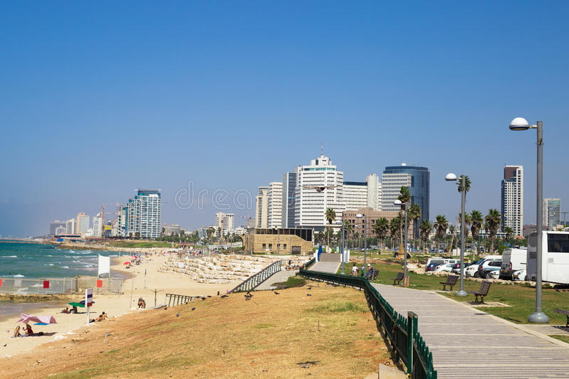 Tel Aviv beach coast with a view of Mediterranean sea from Jaffa, Israel. Tel Aviv beach coast with a view of Mediterranean sea from Jaffa and skyscrapers stock photography
