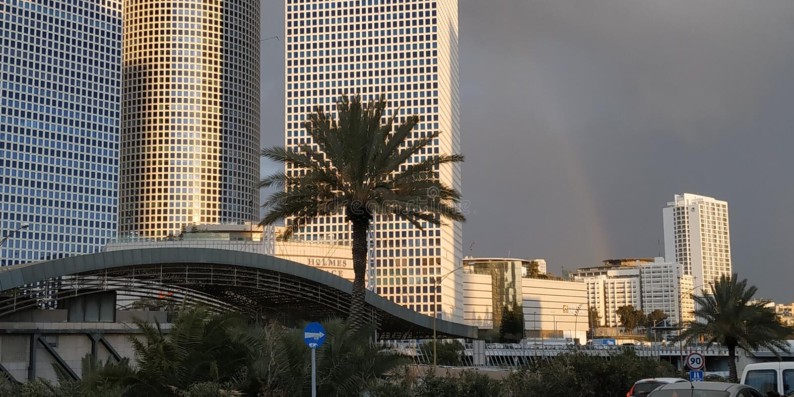 Tel Aviv is a beautiful city. Azrieli View. A city in the Tel Aviv District of Israel, on the southern coastal plain, the central of the cities of the Dan region royalty free stock images