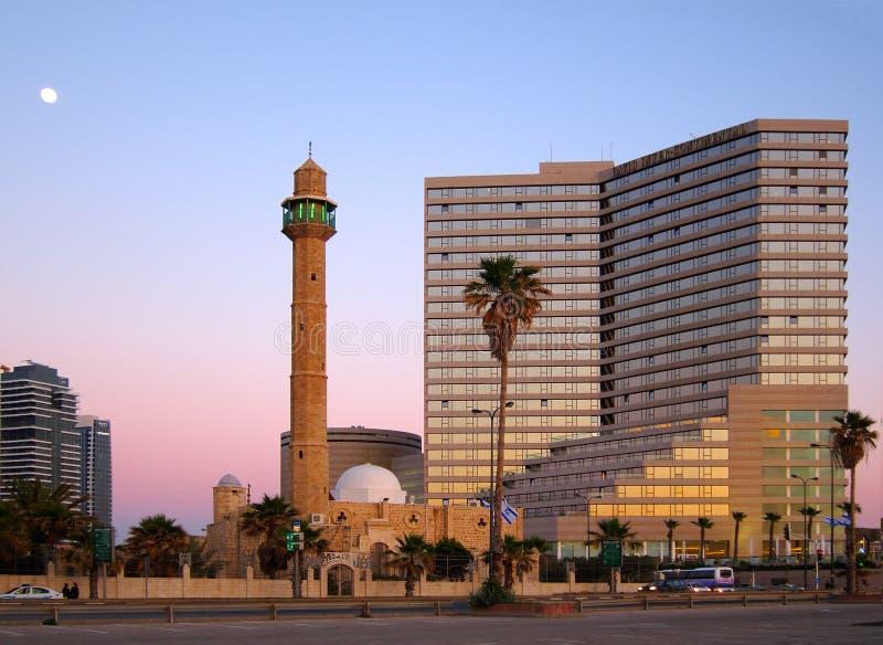 Tel Aviv bij Schemer, Israël stock afbeeldingen