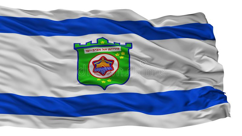 Tel. Aviv City Flag, Israël, op Witte Achtergrond wordt geïsoleerd die stock illustratie