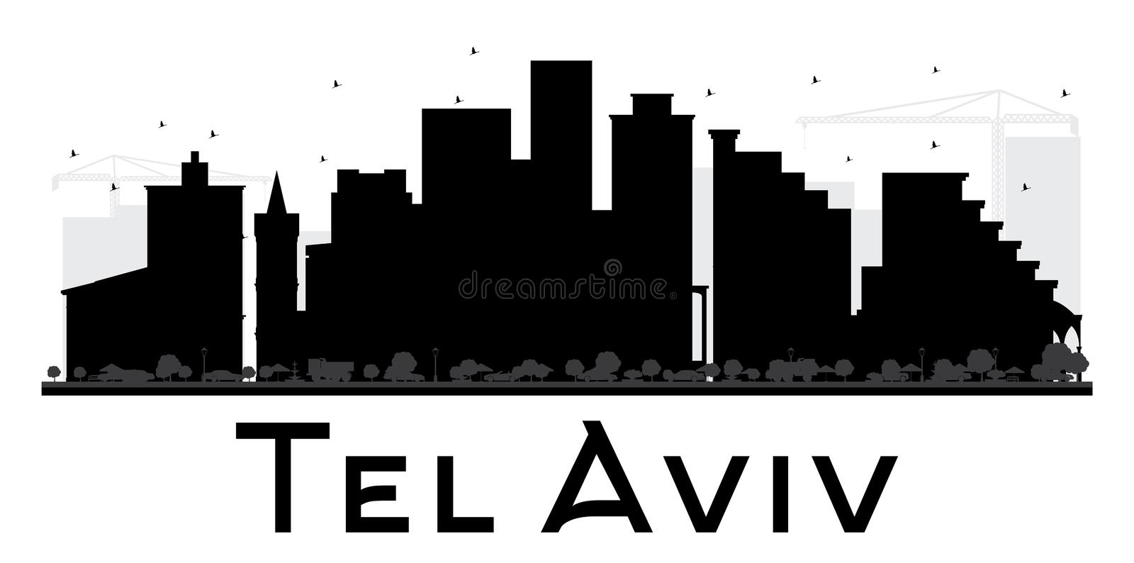 Tel Aviv City skyline black and white silhouette. vector illustration