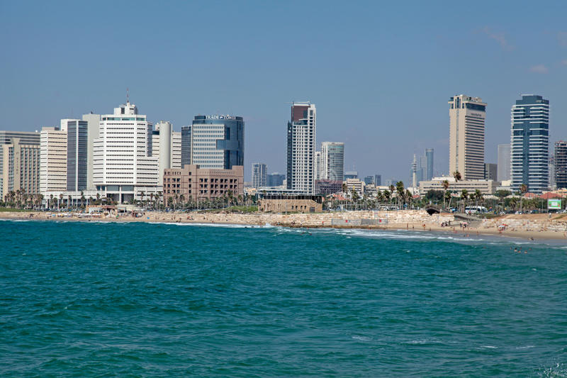 Tel Aviv coast panoramic view with modern skyscrapers, Israel. stock images