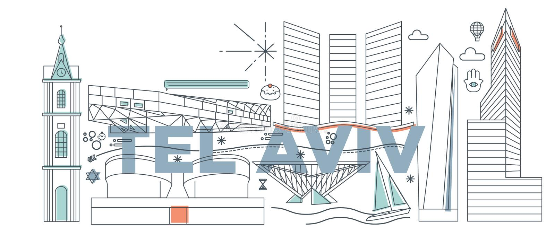 Tel Aviv culture travel vector illustration. Typography word Tel Aviv branding technology concept. Collection of flat vector web icons. Israel culture travel set stock illustration