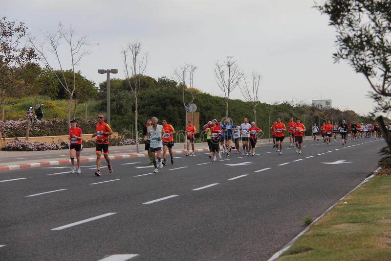 Tel Aviv Gillette maraton. Mars 30, 2012. royaltyfri fotografi
