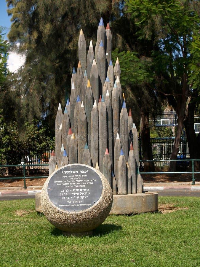 Tel Aviv, Israël De decoratieve potloden ` van de beeldhouwwerk` Kleur royalty-vrije stock afbeelding