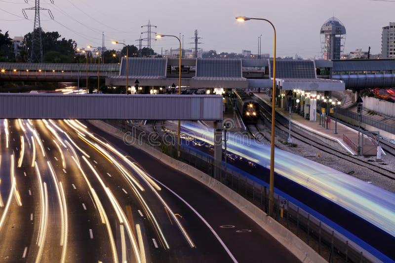 Le trafic de crépuscule photo libre de droits