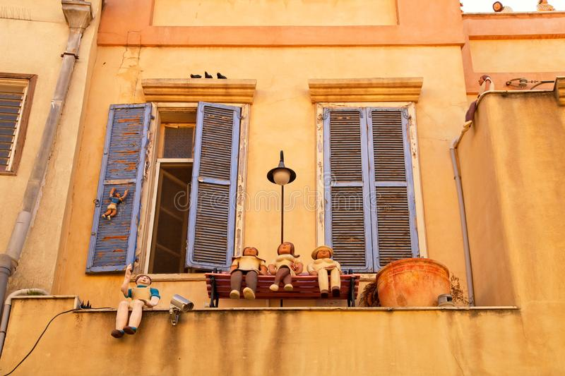 Beautiful house with funny figures Beit Tamar in Neve Tzedek are royalty free stock photo