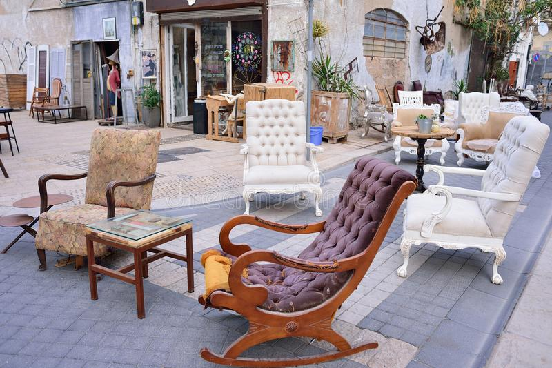 TEL AVIV, ISRAEL - APRIL, 2017: Flea market in the old city of Jaffa Tel Aviv. Old furniture, second hand, souvenirs and art obje royalty free stock photos