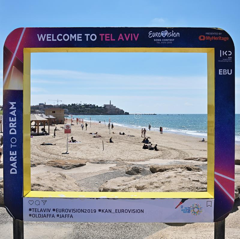 Eurovision Song Contest 2019 Tel Aviv poster. Israel. Tel Aviv, Israel - April 5, 2019: Poster on the city Promenade with official Eurovision symbols Eurovision stock image