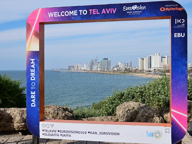 Eurovision Song Contest 2019 Tel Aviv poster. Israel. Tel Aviv, Israel - April 5, 2019: Poster on the Jaffa Promenade with official Eurovision symbols Eurovision royalty free stock image