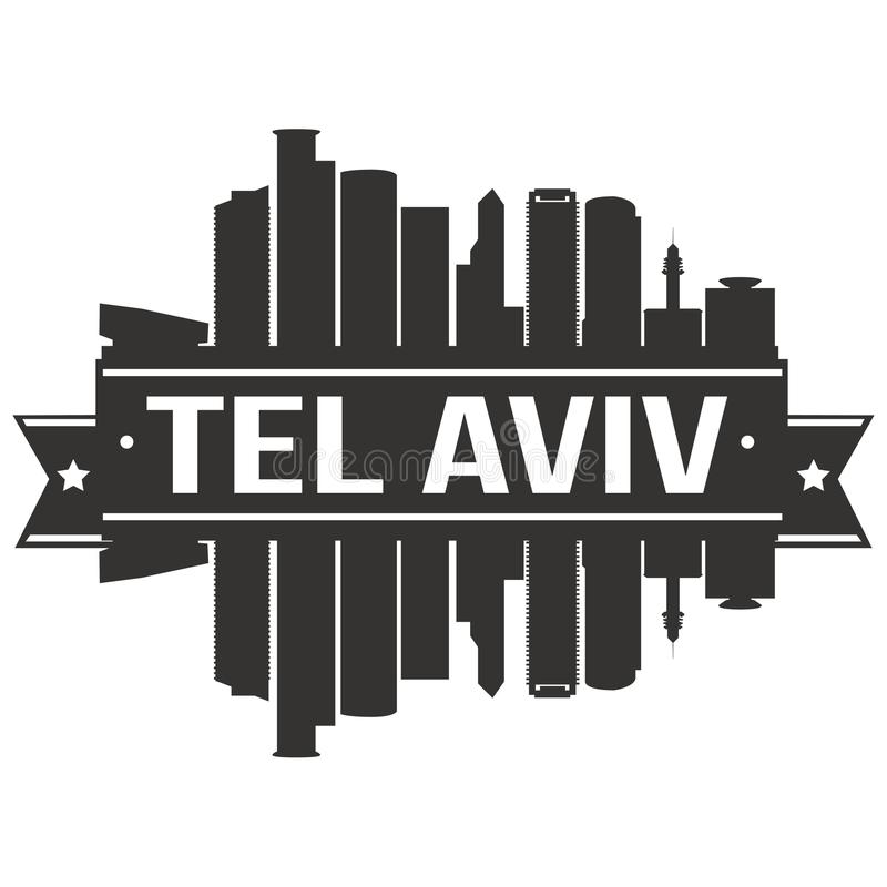 Tel Aviv Israel Asia Icon Vector Art Design Skyline Flat City Silhouette Editable Template stock illustration