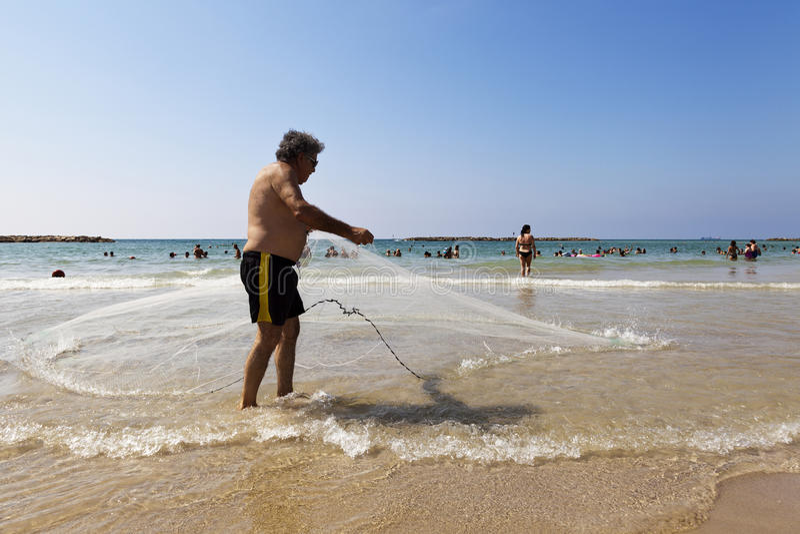 Fishing at the Beach in Tel-Aviv