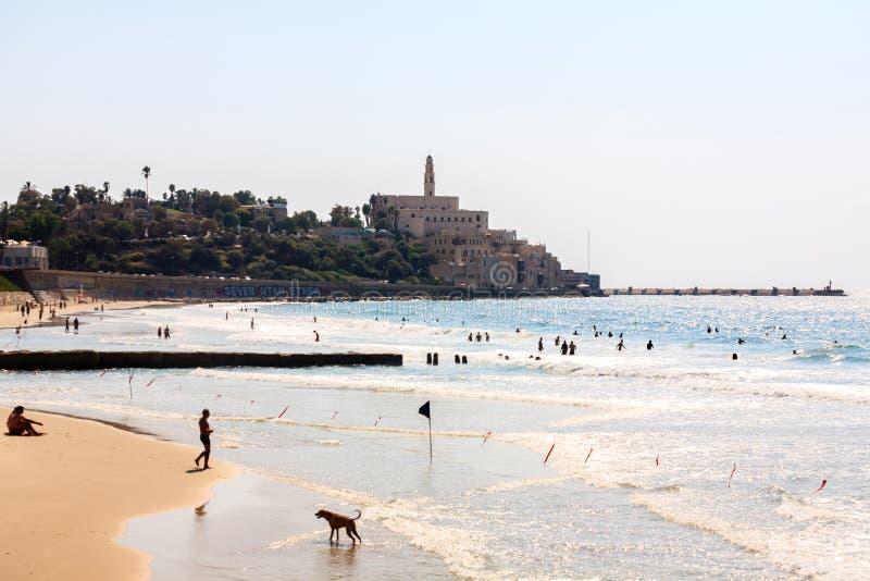 Tel Aviv, Israel - 9 de setembro de 2011: Ideia do passeio de Jaffa Povos que relaxam no telefone Baruch da praia em Tel Aviv fotografia de stock