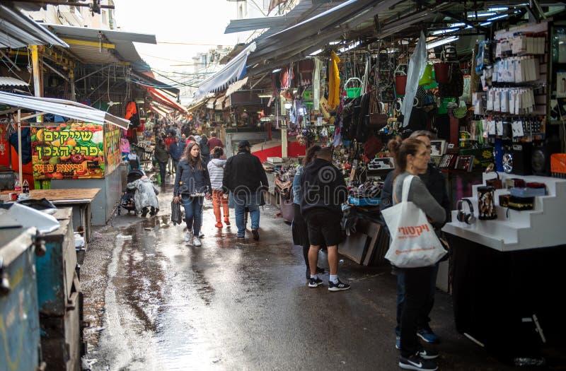 TEL AVIV, ISRAEL - DECEMBER 07, 2018: Carmel Market in Tel Aviv, Israel. Rainy Day royalty free stock image