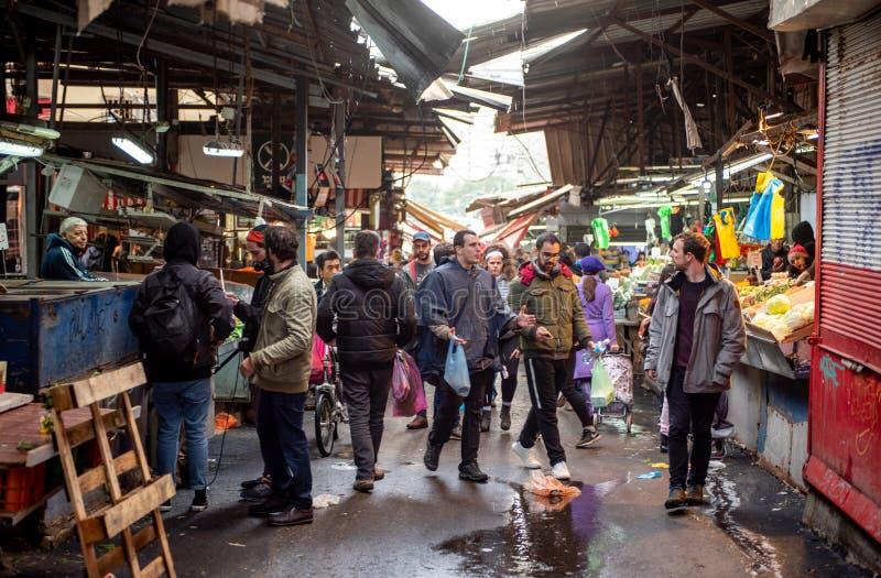TEL AVIV, ISRAEL - DECEMBER 07, 2018: Carmel Market in Tel Aviv, Israel. Rainy Day royalty free stock photos
