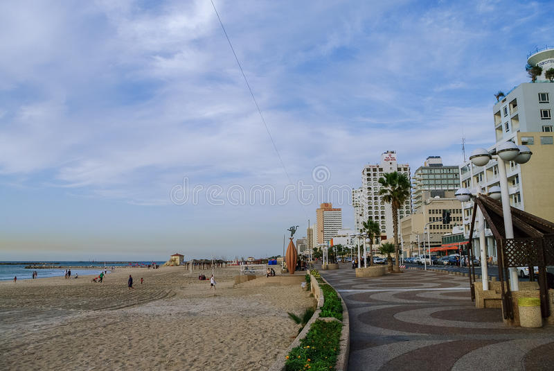Tel-Aviv, Israel- December 9, 2010: View of city beach and embankment in evening in the city of Tel- Aviv stock photo