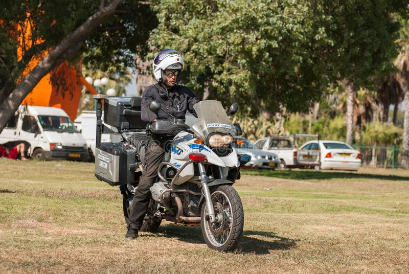 Israeli police motorcyclists waiting at the Yarkon Park royalty free stock images