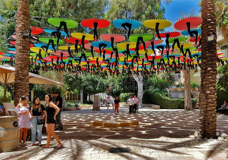 Tel-Aviv Suzanne Dellal Center for Dance and Theater with Colorful Original Decoration,that make shadows in Hot Summer Day .Tel stock images