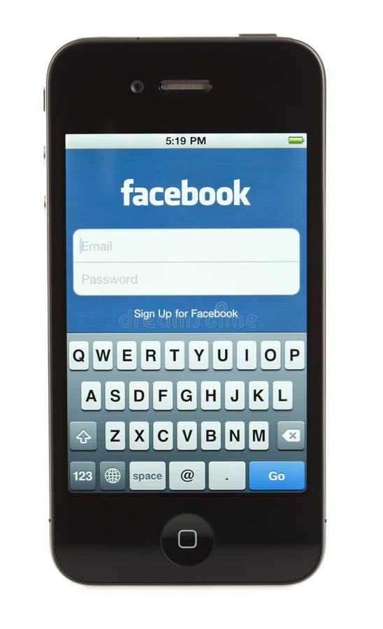 Lokalisiertes iPhone 4 - Facebook lizenzfreie stockfotografie