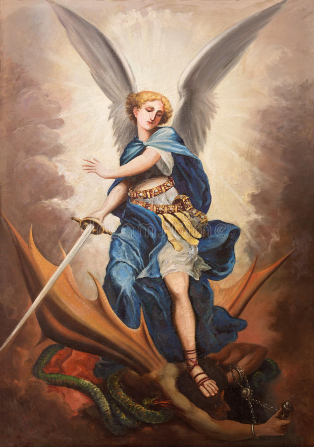 TEL AVIV, ISRAEL - MARCH 2, 2015: The paint of archangel Michael from st. Peters church in old Jaffa by P. Zalarn royalty free stock photography