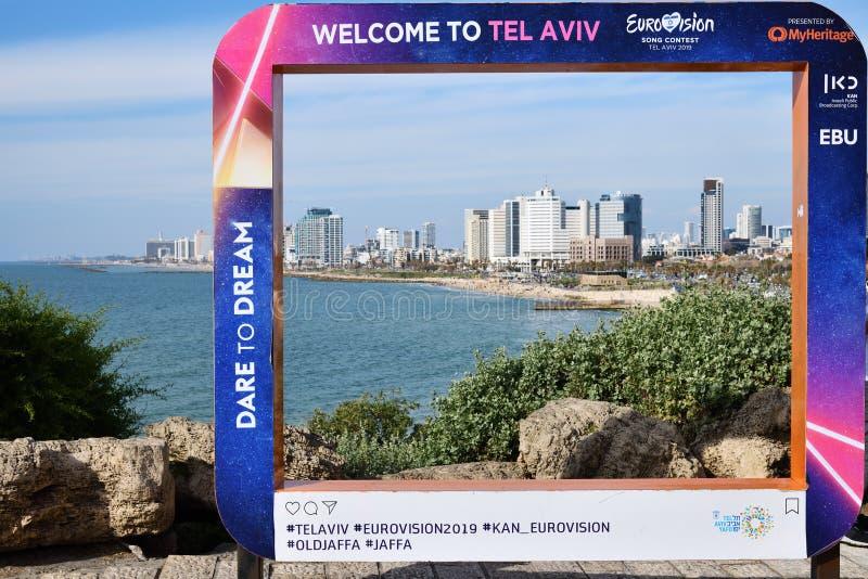 Eurovision Song Contest 2019 Tel Aviv poster. Israel. Tel Aviv, Israel - April 5, 2019: Poster on the Jaffa Promenade with official Eurovision symbols Eurovision stock image