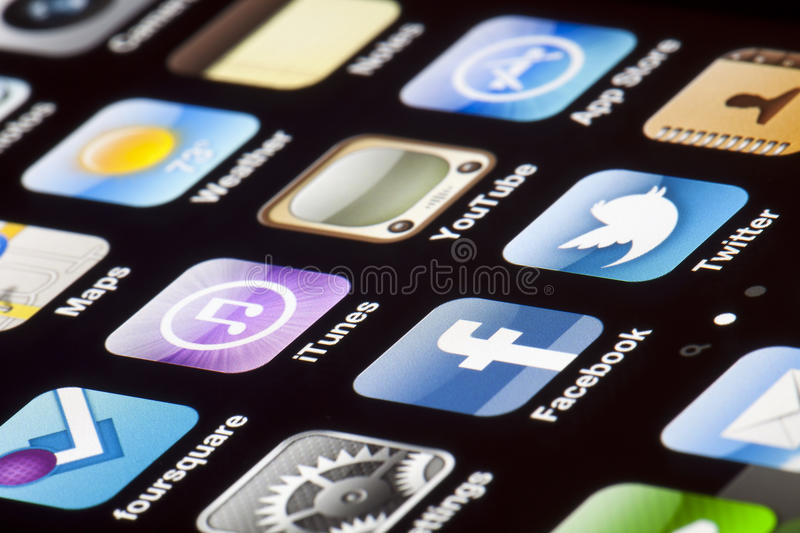 Download IPhone 4 - Apps Macro editorial image. Image of icon - 29797885