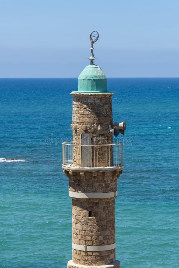Tel Aviv Israel May 19, 2019 View of the tower of the Al-Bahr mosque sea mosque with in the background the turquoise sea, locate royalty free stock images