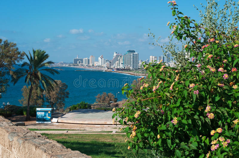 Tel Aviv, Israel, Middle East. Tel Aviv seafront, Mediterranean Sea and beaches seen from Old Jaffa on August 31, 2015. Tel Aviv was founded in 1909 by Jewish royalty free stock image