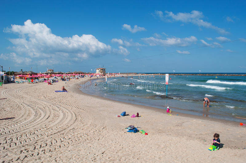 Tel Aviv, Israel, Middle East. View of Mediterranean Sea and Metzitzim Beach on August 31, 2015. Named after a 1972 comedy film, Metzitzim beach is a family royalty free stock images