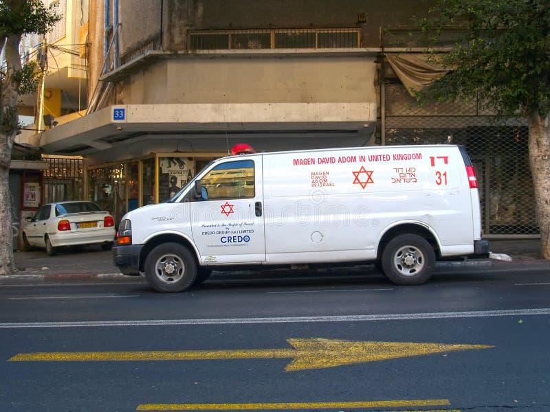 TEL AVIV, ISRAEL. The Emergency medical service car costs on the street. TEL AVIV, ISRAEL - OCTOBER 07, 2012: The Emergency medical service car costs on the royalty free stock images