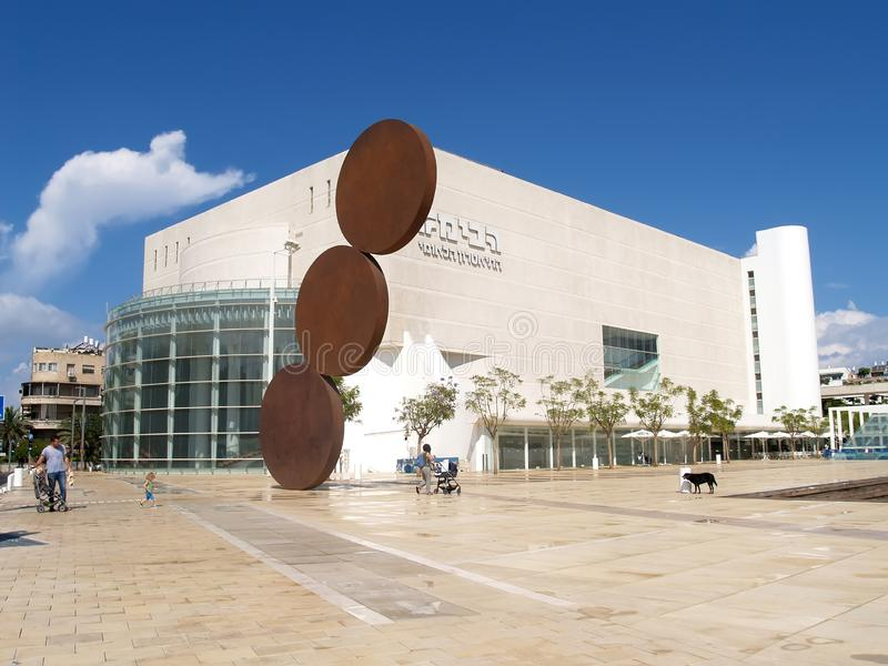 TEL AVIV, ISRAEL. Sculptural composition against the background of Gabima theater royalty free stock image