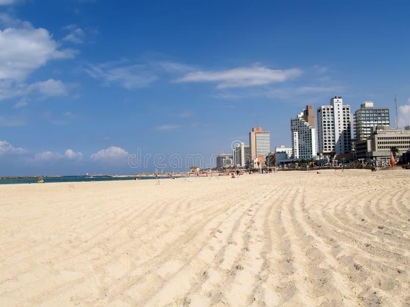 TEL AVIV, ISRAEL. A view of the city beach in Tel Aviv royalty free stock image