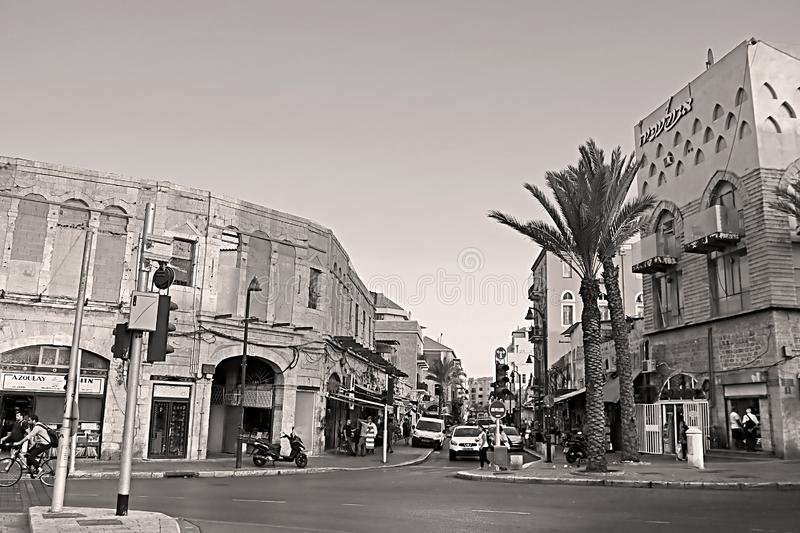 View of old street in the old town Jaffa, Yafo, Tel Aviv, Israel stock photo