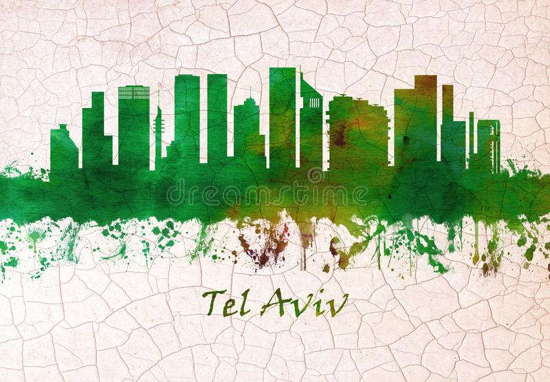 Tel. Aviv Israel Skyline royalty-vrije illustratie