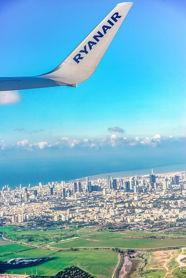 12/23/2018 Tel aviv, Israel, view through the window of the plane on the panorama of a large and ancient city on the Mediterranean stock images