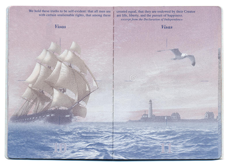 Pagina in bianco del passaporto di U.S.A. immagini stock