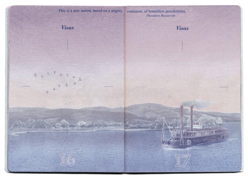 Pagina in bianco del passaporto di U.S.A. fotografia stock libera da diritti