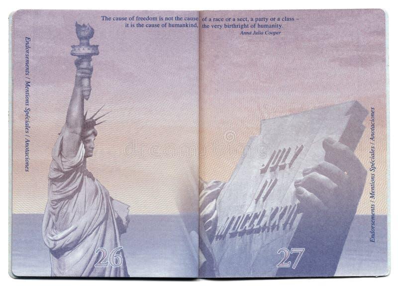 Pagina in bianco del passaporto di U.S.A. immagini stock libere da diritti