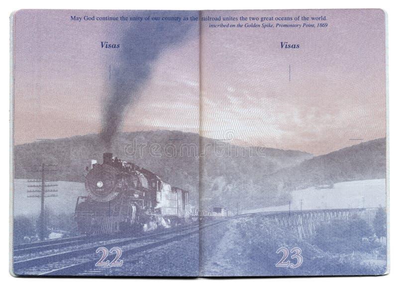 Pagina in bianco del passaporto di U.S.A. fotografie stock