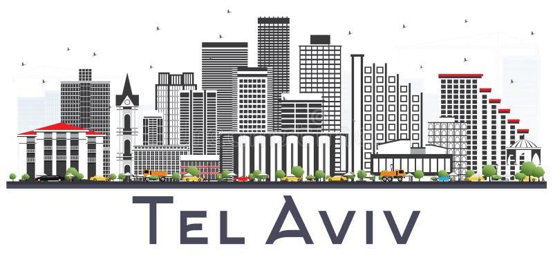Tel Aviv Izrael miasta linia horyzontu z Szarymi budynkami Odizolowywającymi na Whi ilustracja wektor