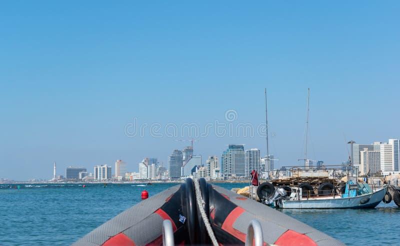 TEL AVIV, IZRAEL Panoramiczny Jaffa port widok stary miasto Jaffa zdjęcie royalty free