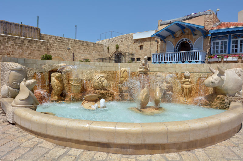 Tel Aviv Jaffa - Israel. The Zodiac Fountain in Kedumim Square in Old Jaffa, Tel Aviv, Israel stock photography