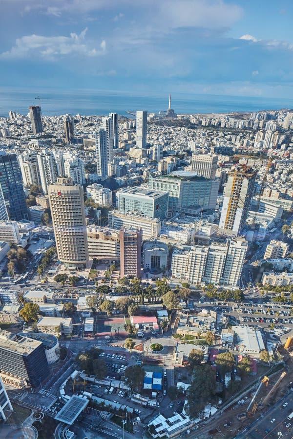Tel Aviv, Luty - 2, 2017: Powietrzna fotografia miasta Tel fotografia stock