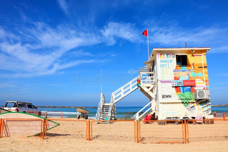 Tel Aviv Mediterranean Frishman Sandy Beach Estação Lifeguards imagens de stock royalty free