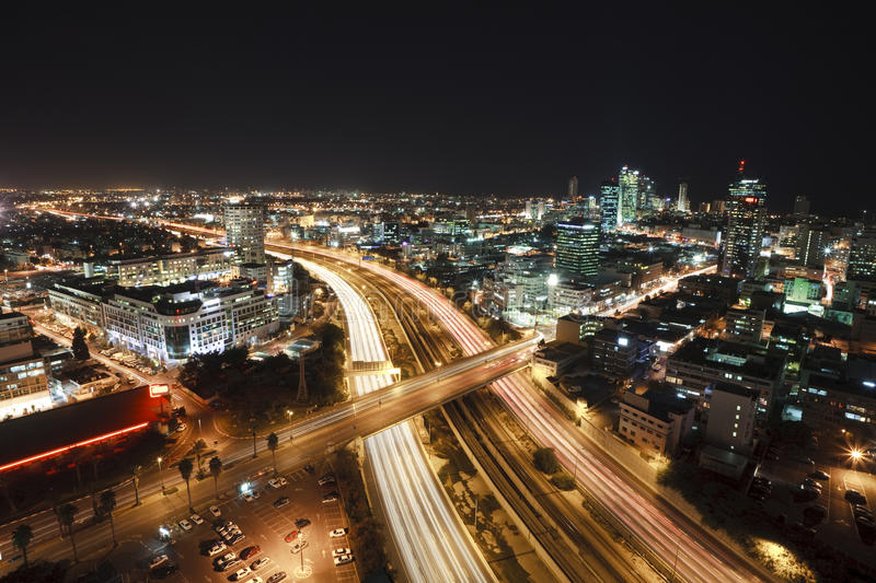Download Tel Aviv at Night stock photo. Image of freeway, lights - 12035676