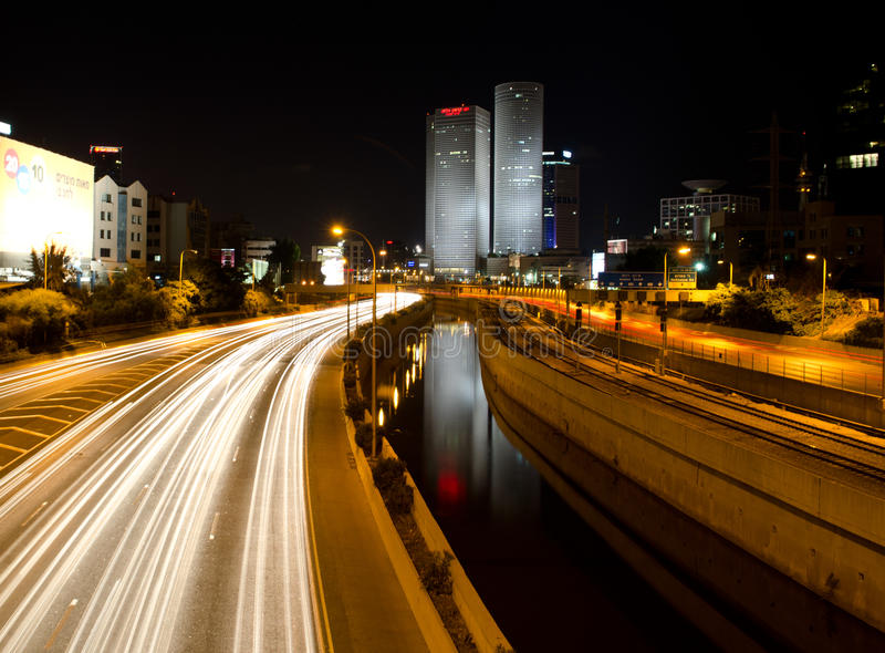 Tel Aviv by night royalty free stock photo