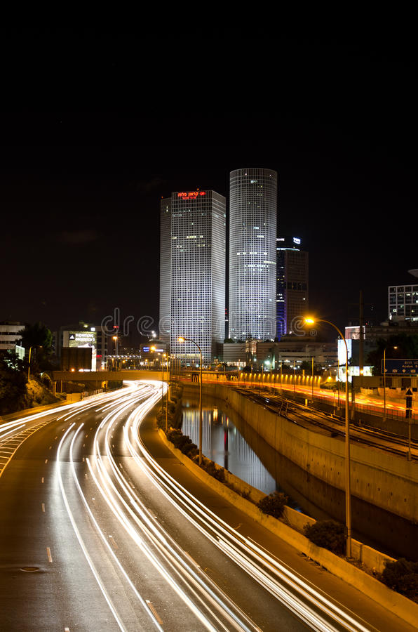 Tel Aviv by night royalty free stock photos