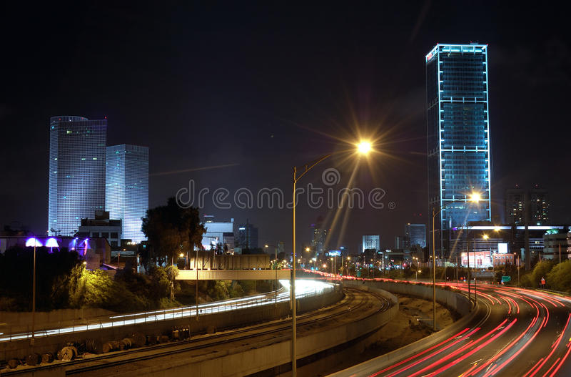 Download Tel Aviv at night, Israel stock image. Image of ayalon - 19667161
