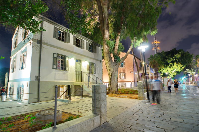 Tel Aviv Night Life. Restored houses at night at the hip Sarona district featuring rich night life and conserved Templer era German architecture from the late royalty free stock photography